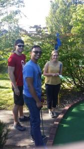 Ben, Gaurav, and Lauren at putt-putt