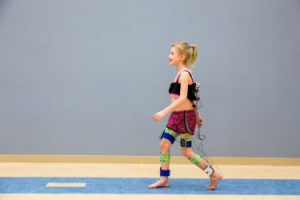 A child walking in the motion analysis lab at Gillette Children's Specialty Healthcare.