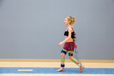 A child walking in the motion analysis lab at Gillette Children's Specialty Healthcare. Photo by Michael Schwartz.