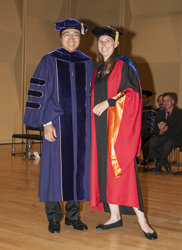 Dr. Hwan Choi poses with his mentor, Dr. Kat Steele at his graduation ceremony.