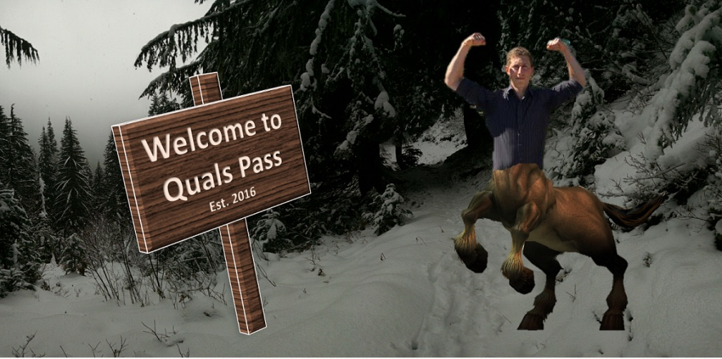 """Michael Rosenberg poses in front of a """"Quals Pass, Established 2016"""" Hiking Trail Meme, as part centaur"""