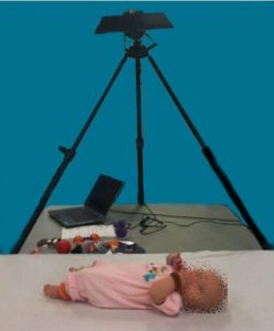 Experimental set-up with infant positioned below Kinect depth camera.