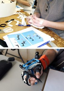 Orthotists in training assemble the 3D-printed parts of a new wrist-driven orthosis in the top image. The lower image showcases a user gripping a pen in his freshly donned orthosis.