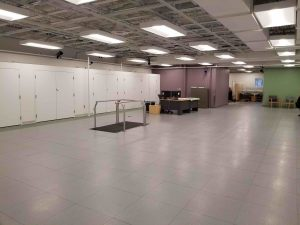 The 3,000+ square foot motion analysis space is the hub of the AMP Lab featuring a wide open space to evaluate human and robotic movement, force plates, cameras, and an instrumented treadmill.