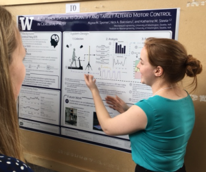 Alyssa Spomer stands facing her poster and wears a teal blouse and black skirt. She gestures toward her experimental setup figure within her poster's method section while explaining her research to an onlooking member of the scientific community.