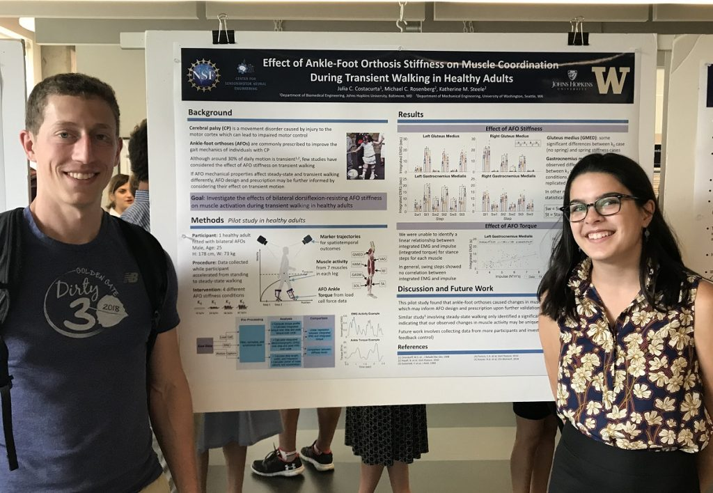 Julia Costacurta and her mentor for the 2018 summer, Michael Rosenberg, stand in front of her scientific poster evaluating the impact of ankle foot orthosis stiffness on transient walking.