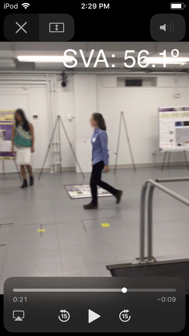 Screen shot of HuskySTEPS with a video recording of someone walking with display of SVA.