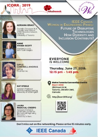 Flyer from the IEEE Women in Engineering panel with the moderator and four speaker pictures.