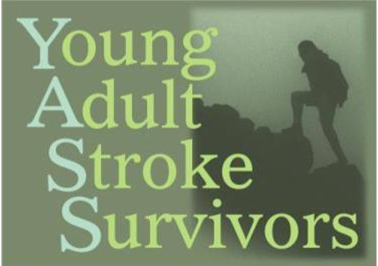 Young Adult Stroke Survivors logo. Light green writing on a dark green background with a silhouette of a person climbing up boulders.