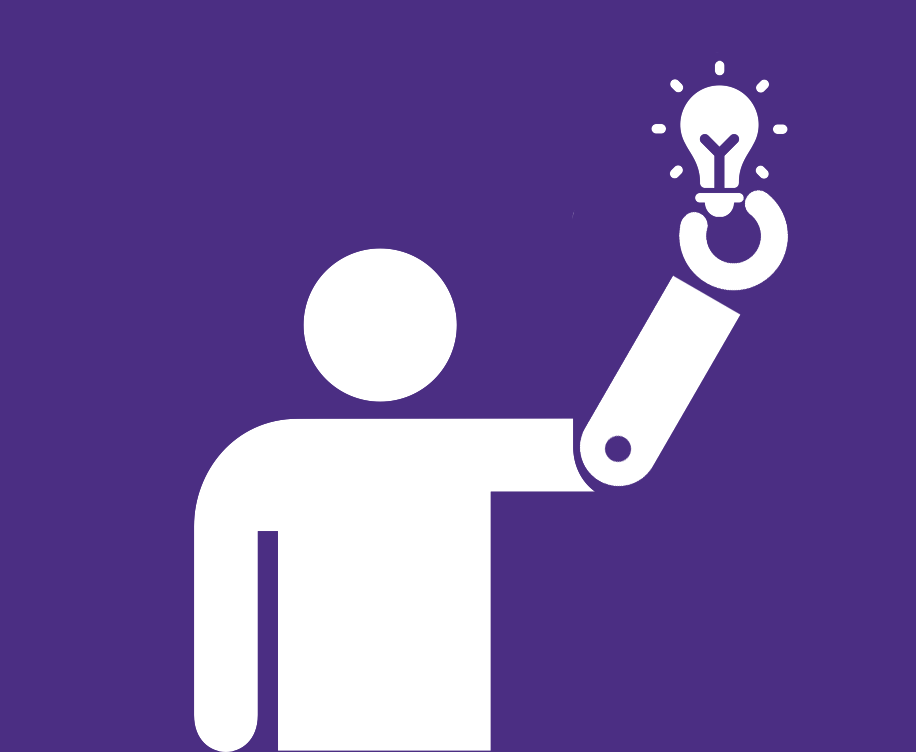 Purple background with white stick figure holding light bulb