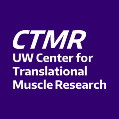 CTMR: White text on purple background, UW Center for Translational Muscle Research
