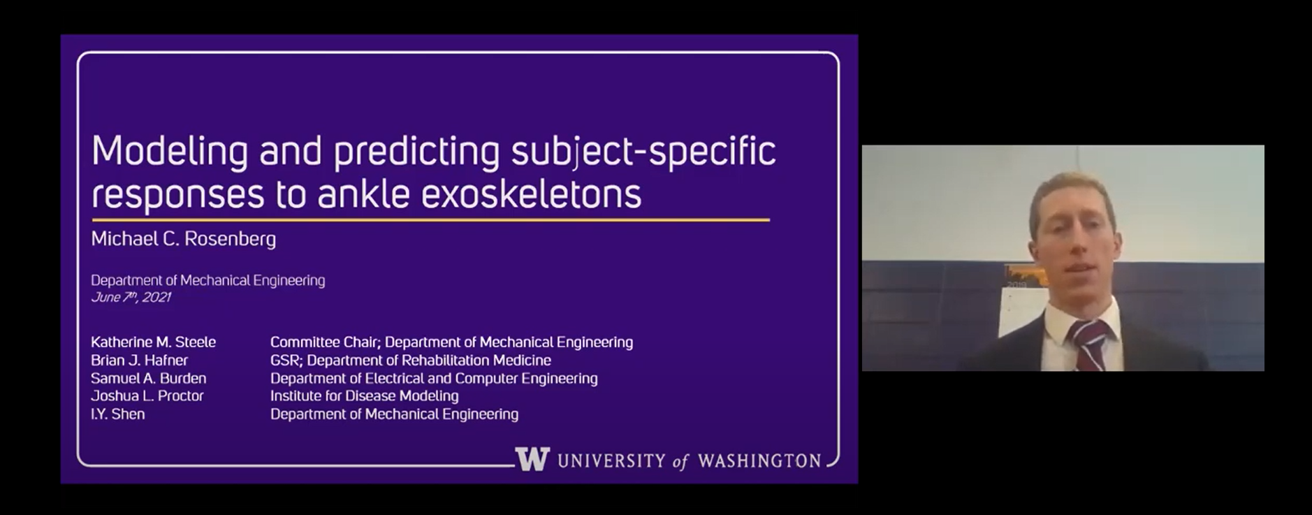 """Screenshot of virtual presentation with Michael's video who is wearing a grey suit in front of a white and purple wall. The PowerPoint reads Predicting subject-specific response to exoskeletons"""""""