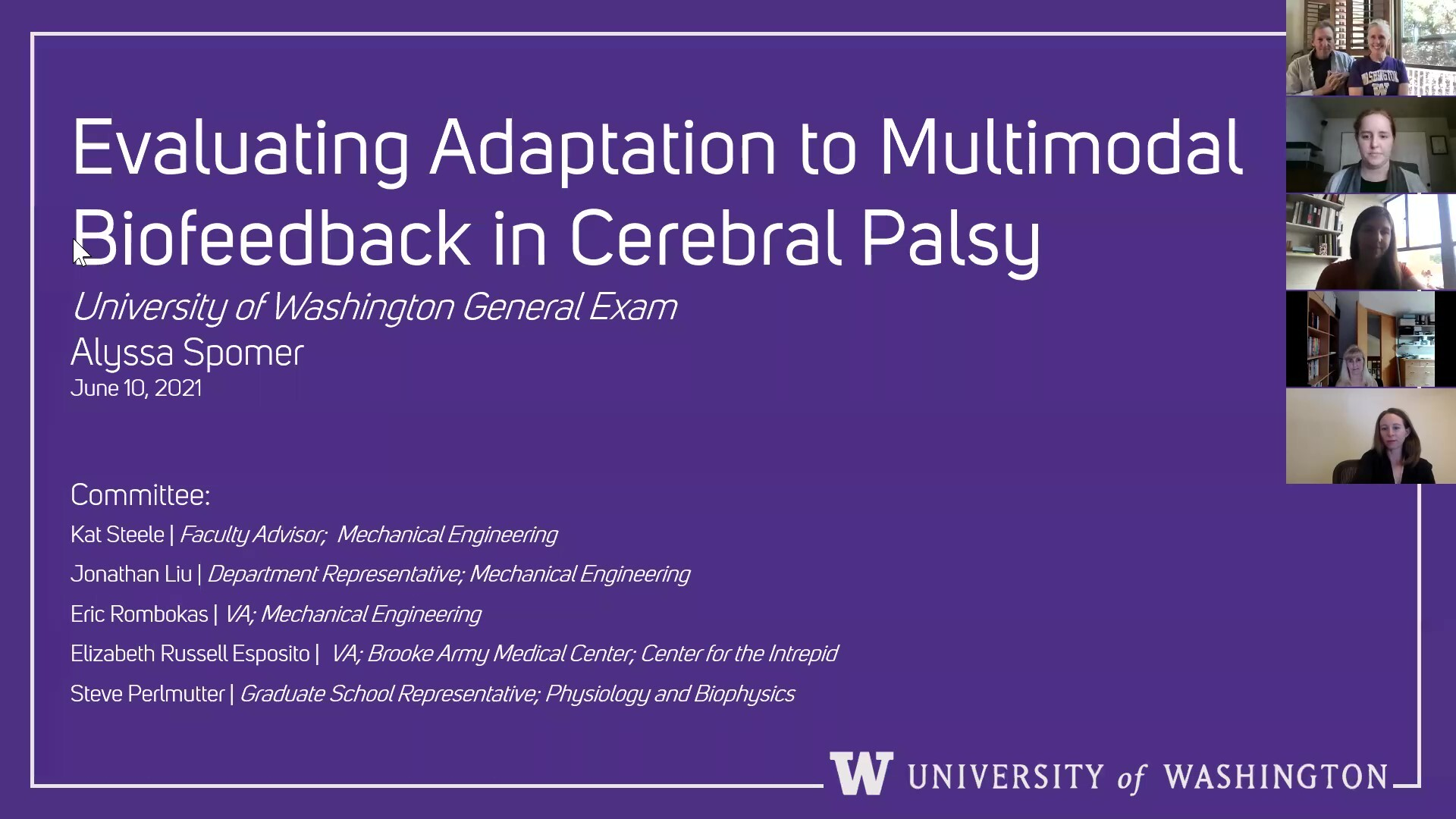"""A screenshot of a purple powerpoint slide with the title """"evaluating adaptation to multimodal biofeedback in cerebral palsy"""""""