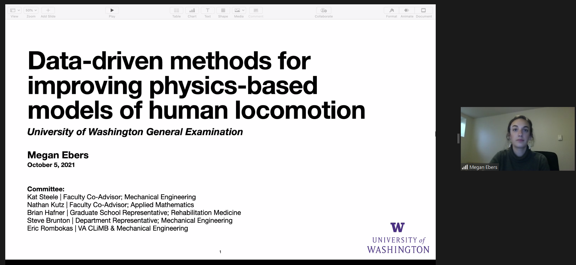 """A screenshot of a zoom meeting with a powerpoint slide titled """"data-driven methods for improving physics-based models of human locomotion"""" with a camera view of megan in a green sweater on the right side of the screen"""